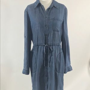 Athleta denim dress was drawstring sz XS NEW